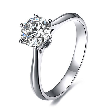 925 Sterling Silver 6 Prong Cheap Cubic Zirconia Engagement ring