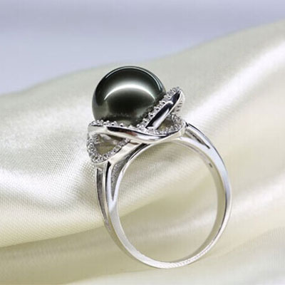 Artificial Diamond South Sea Black Peal Engagement Rings