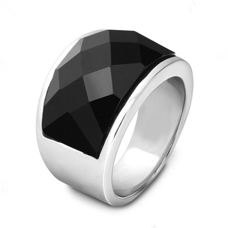 Big Black Swarovski Nirvana Rings Titanium Thumb Rings for Men