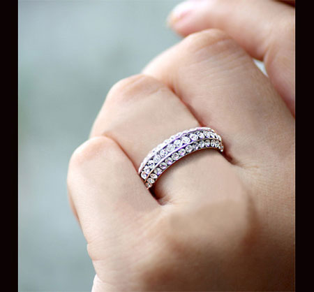 Silver Eternity Cubic Zirconia Pave Wedding Bands for Women