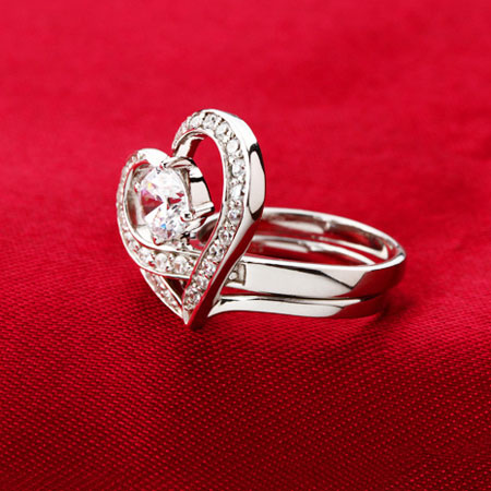 Unique Double Heart Promise Rings for Girlfriend