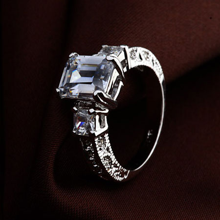 Emerald Cut CZ Diamond Solitaire Alternative Engagement Rings - Click Image to Close