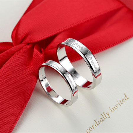 Love Forever Engraved His and Her Promise Rings