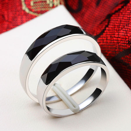 Men's Black Onyx Sterling Silver Band Big Fashion Wedding Rings