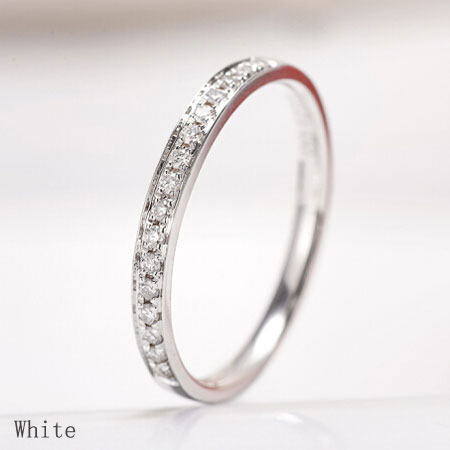 Pave Diamond Anniversary Bands for Women 9ct /24ct White Gold