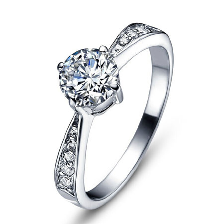 Silver Round Man-made Diamond Engagement Rings for Woman - Click Image to Close