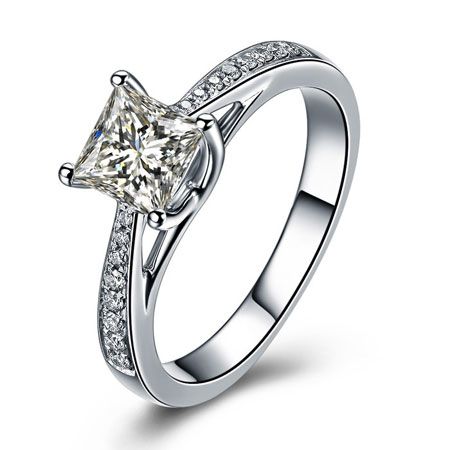 925 Sterling Silver Plated With Platinum Fake Diamond Ring