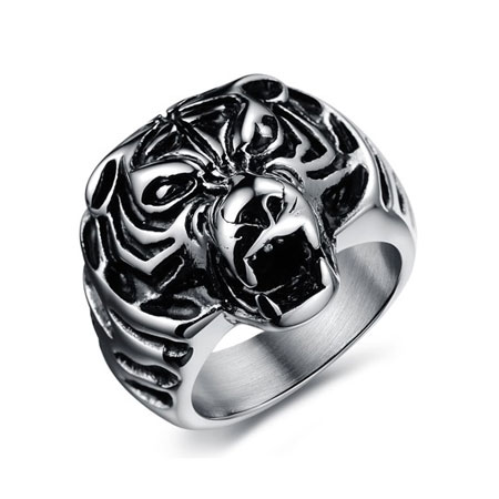 Men's Titanium Rings with Powerful Tiger Head