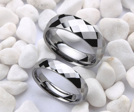 Beautiful Faceted Tungsten Carbide Couple Wedding Pair Rings