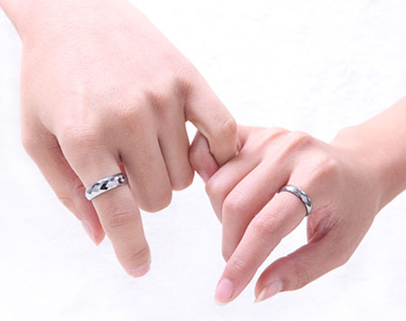 Beautiful Faceted Tungsten Carbide Couple Wedding Pair Rings - Click Image to Close