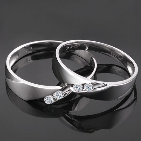 Unique Mens 18k White Gold Wedding Bands with Diamonds - Couple ...