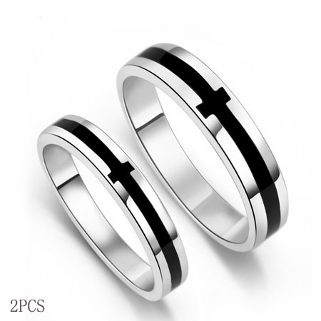 Cool Black Sideways Cross Rings Friendship Rings - Click Image to Close