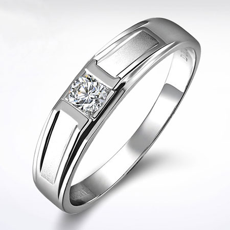 Cheap 18K White Gold Diamond Wedding Rings for Men