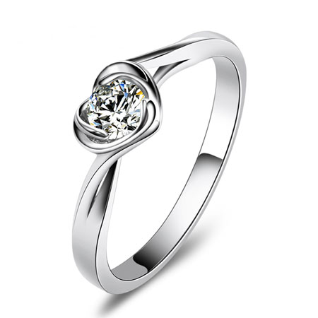 Silver Simulated Diamond Rings with Twisted Heart for Women