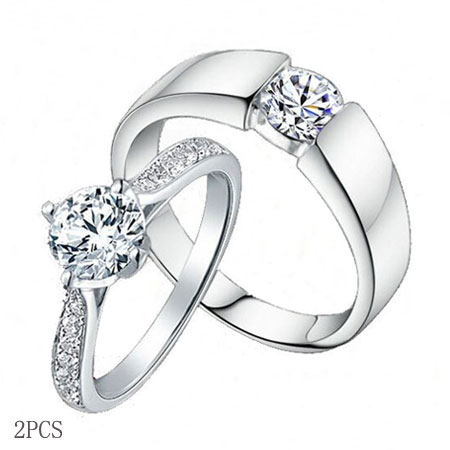 Charmant Sterling Silver Cubic Zirconia CZ Wedding Engagement Ring Sets