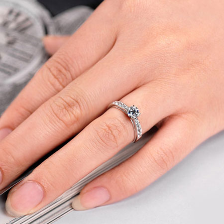 Cheap Sterling Silver Cubic Zirconia CZ Wedding Engagement Ring Sets