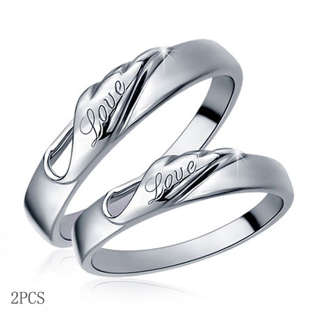 Pure Love Angel's Wings Christian Promise Rings for Couples