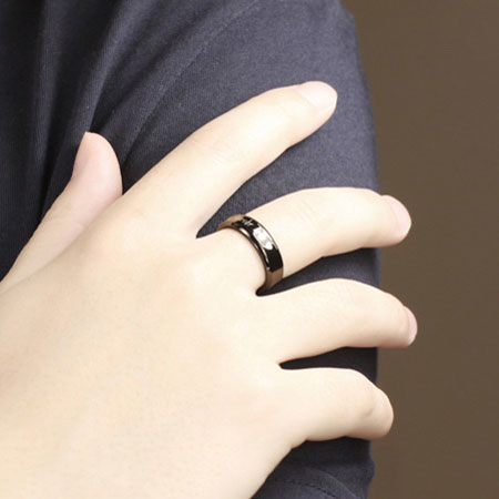 Black Titanium Couple Rings Engraved With Love Forever & Hearts