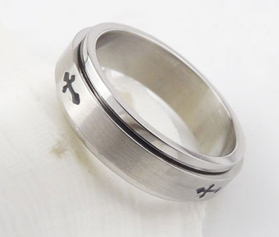 Spinning Titanium Christian Purity Rings for Men