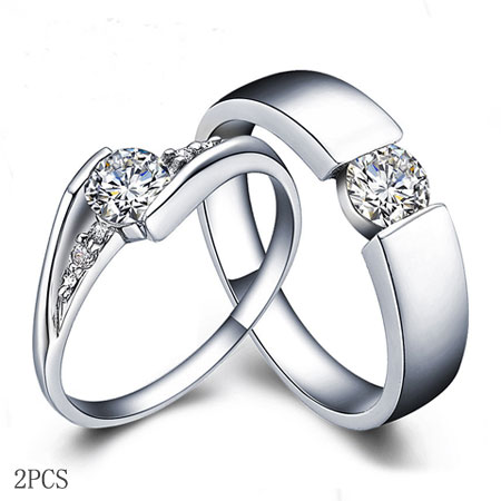 Brilliant Clic Cz Engagement Rings For Men Women