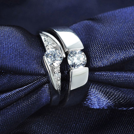Brilliant Classic CZ Engagement Rings for Men & Women