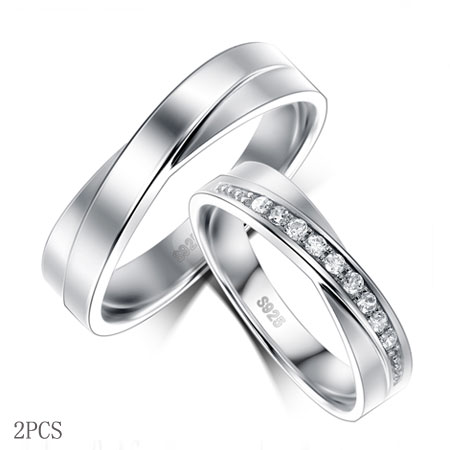 Delicate Silver Criss Cross Couple Rings with CZ Diamonds
