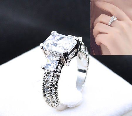 Emerald Cut CZ Diamond Solitaire Alternative Engagement Rings