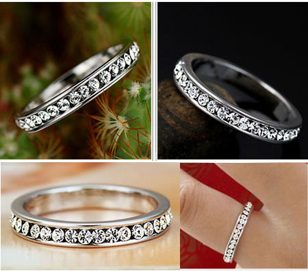 Cubic Zirconia Full Eternity Rings CZ Eternity Bands for Women