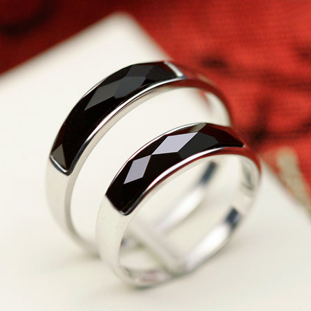 Men\'s Black Onyx Sterling Silver Band Big Fashion Wedding Rings