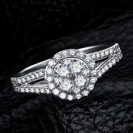 Halo 4 Carat SONA Diamonds Cushion Cut Diamond Engagement Rings