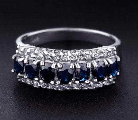 Natual Blue Sapphire Diamond Half Eternity Ring Bands UK