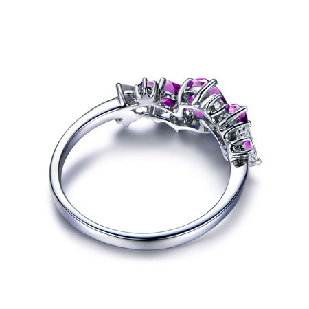 Three Stone Sterling Silver Amethyst Heart Engagement Rings