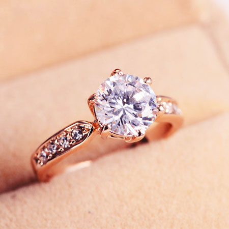 Rose Gold Six Prong Titanium Engagement Rings for Women