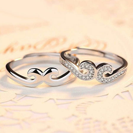 Unique Mustache Crown Couple Rings with Magic Love Spells