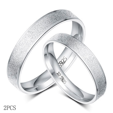 Cheap 925 Sterling Silver Couple Rings Set Unique Wedding