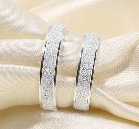 Cheap 925 Sterling Silver Couple Rings Set Unique Wedding Bands