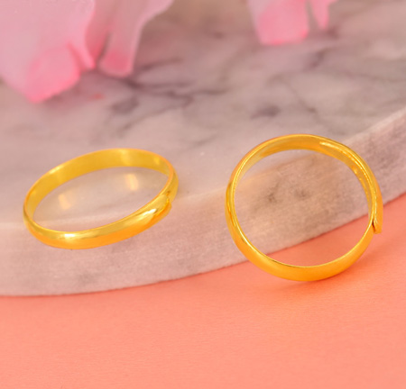 Pure Plain Gold Rings 24K Yellow Gold Wedding Bands for Men