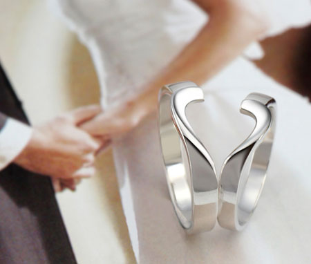 Amazing Broken Heart Rings for Couples Split Heart Rings Set